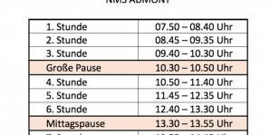 Neue Unterrichtszeiten für das Schuljahr 2018/19